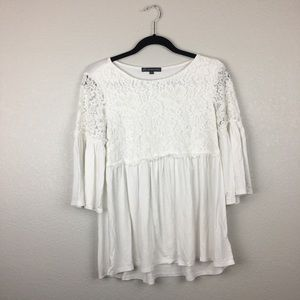 Adrianna Papell 3/4 bell sleeve lace top M